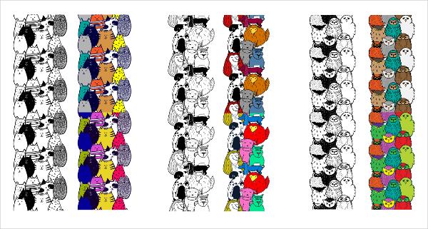 cute doodle animals set vector