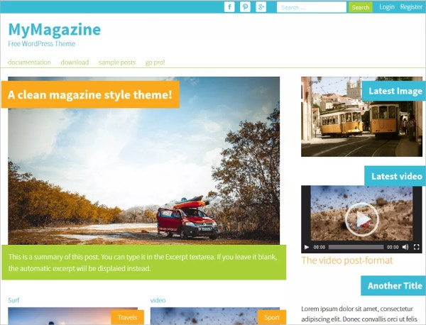 Colorful Magazine Style Free WordPress Theme