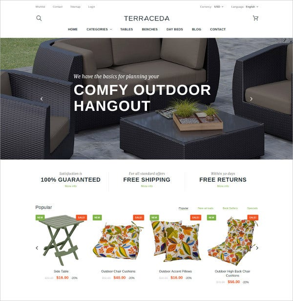 Responsive Furniture HTML5 PrestaShop Theme $139