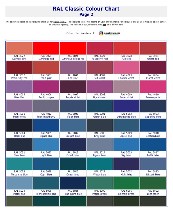 Ral Color Chart Pdf  Chart