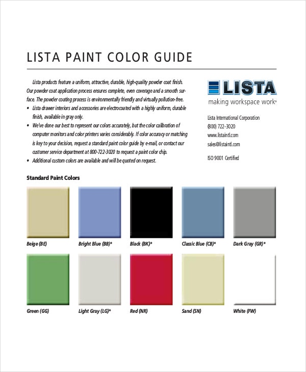 Lista Paint Color Chart