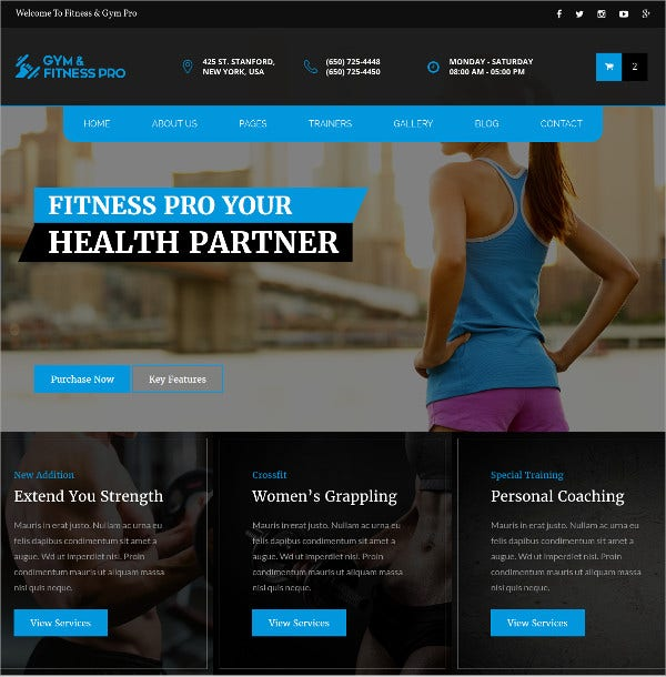 GYM Fitness & Health HTML5 Template $14
