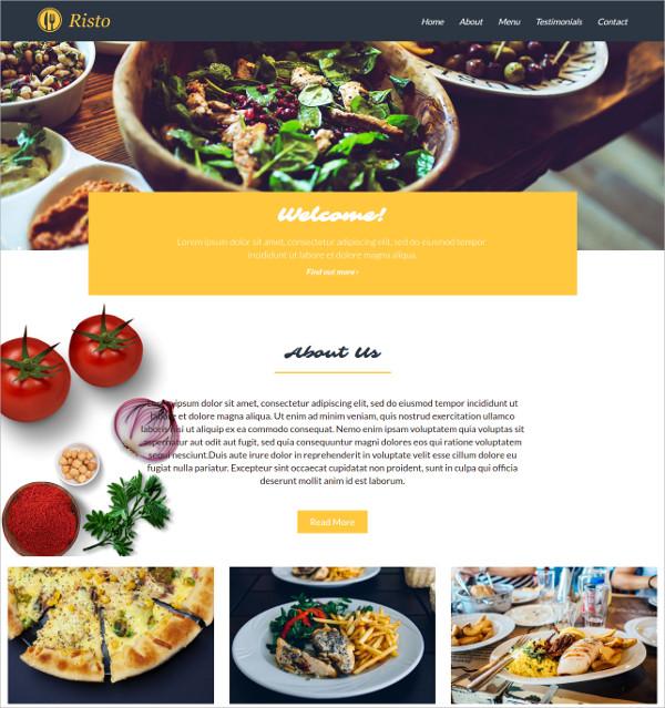 Restaurant Bootstrap HTML5 Theme $8