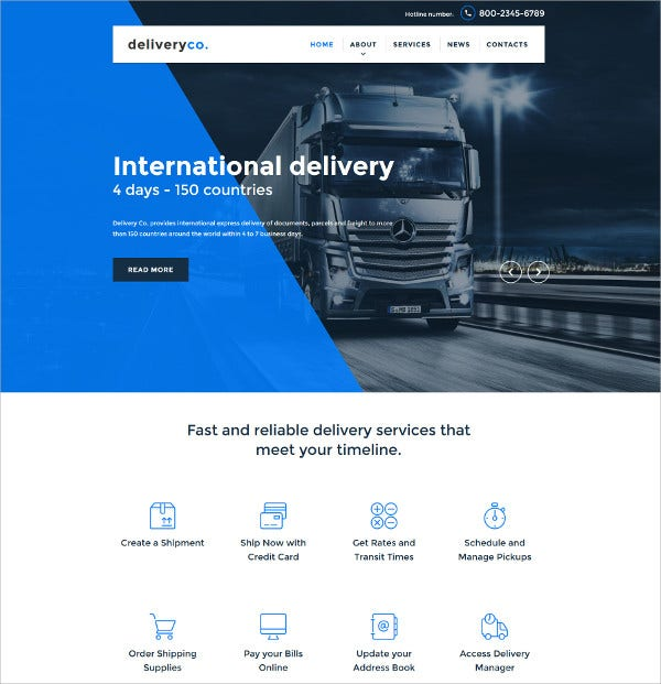 Transportation HTML5 Website Template $75