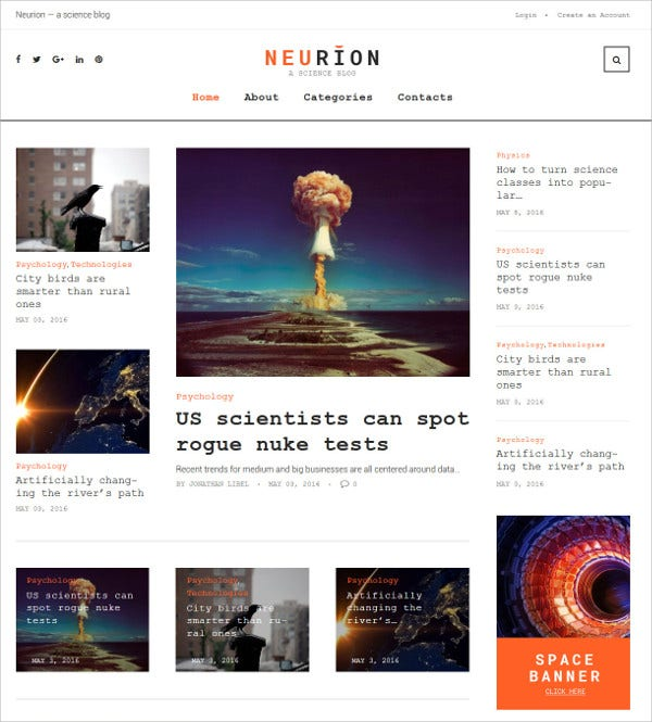 Scientists WordPress HTML5 Theme $75