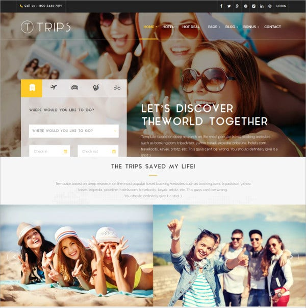 Travel & Hotel Booking WordPress HTML5 Theme $59