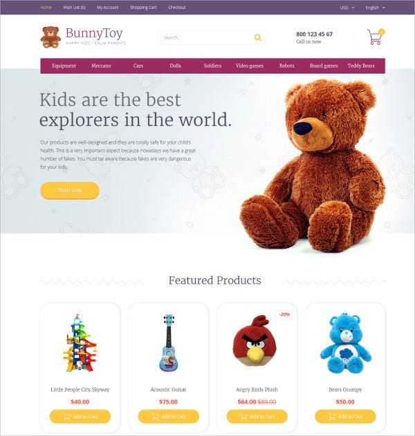 Toy OpenCart eCommerce Template $89