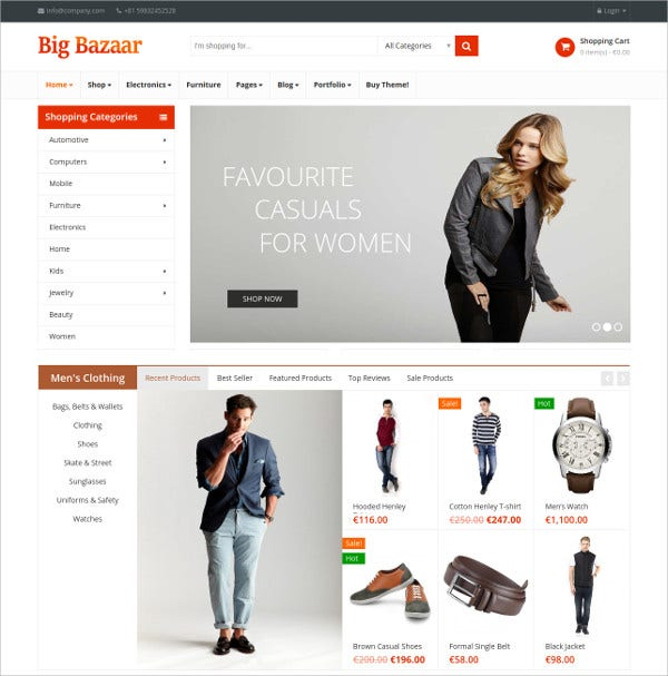 Multipurpose Responsive Ecommerce Theme $59
