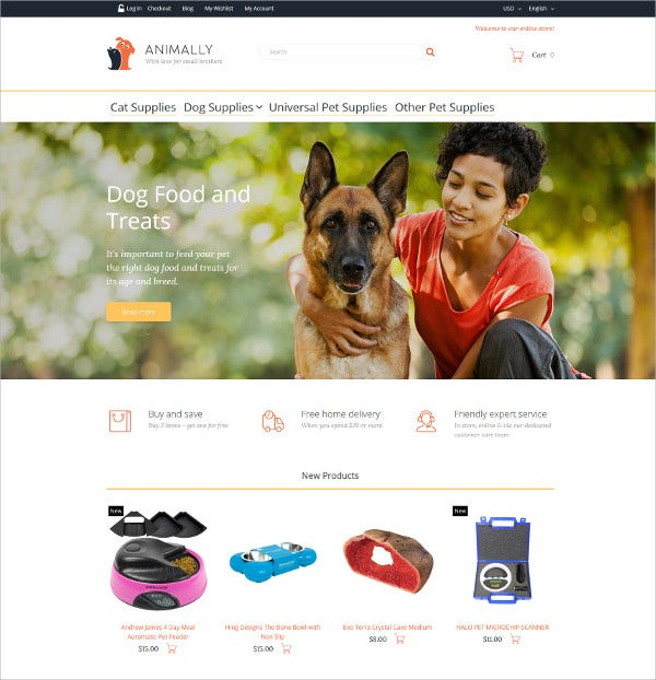 Animal & Dog Food Magento eCommerce Theme $179