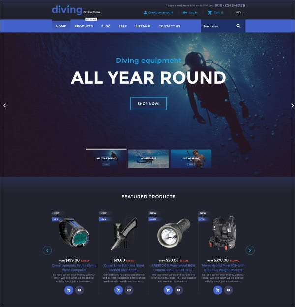 Diving Equipment Online Store eCommerce Theme $139