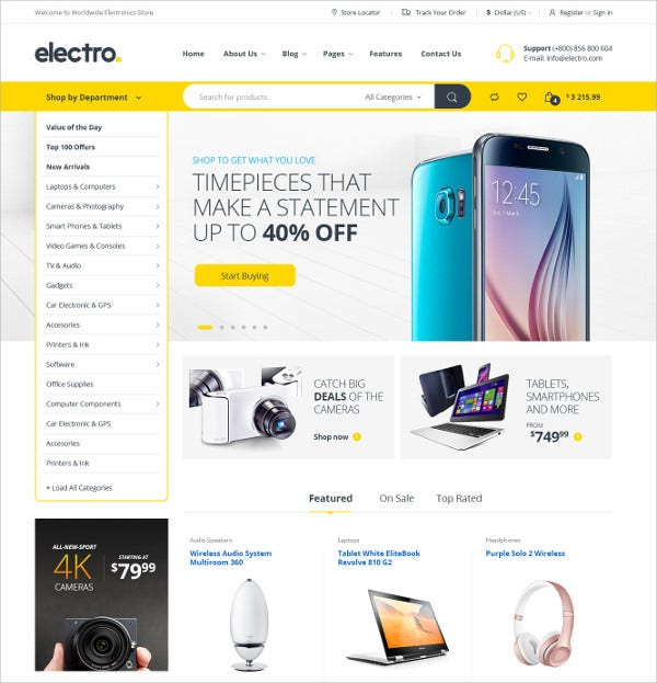 Electronics eCommerce HTML Template $17