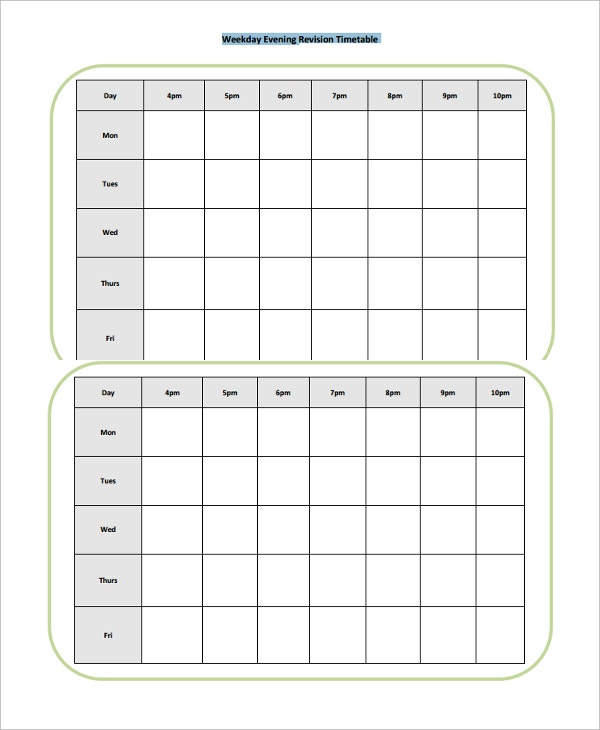 printable evening revision timetable template