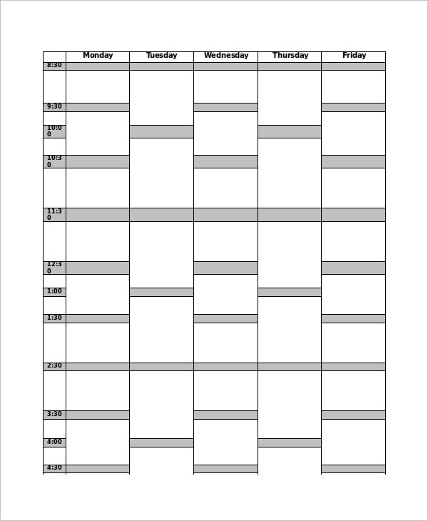 blank timetable template for free