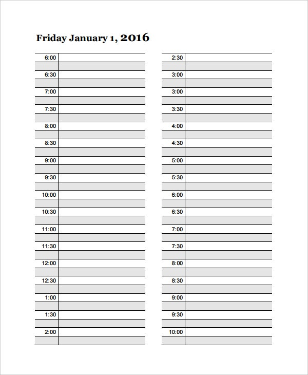family daily timetable template