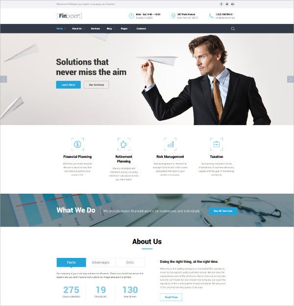 Financial Advisor WordPress Website Template $75