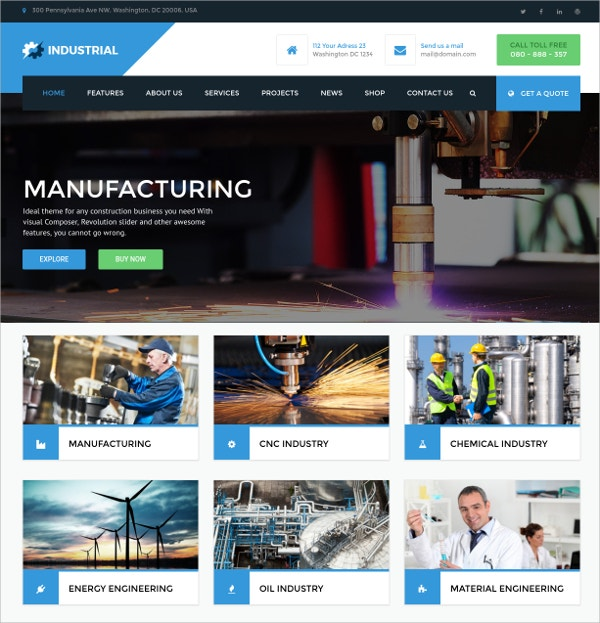 Manufacturing WordPress Theme $59