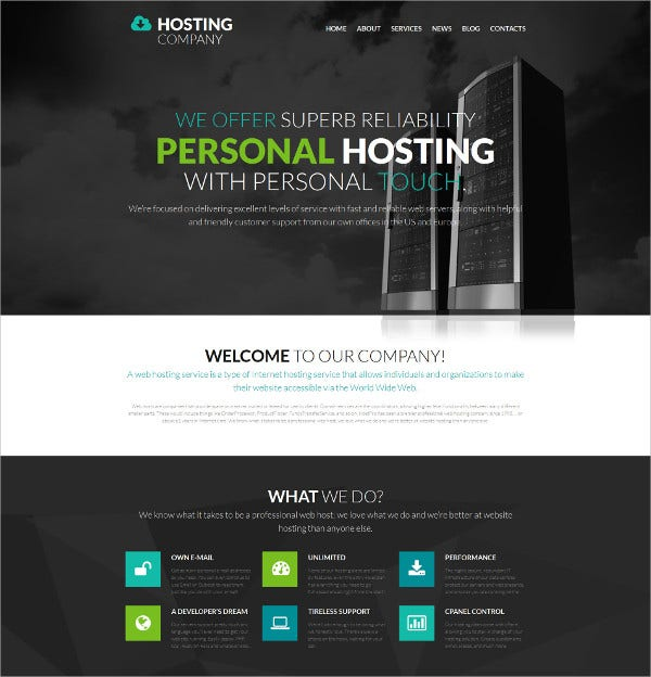 Personal Hosting Responsive Moto WordPress Template $199
