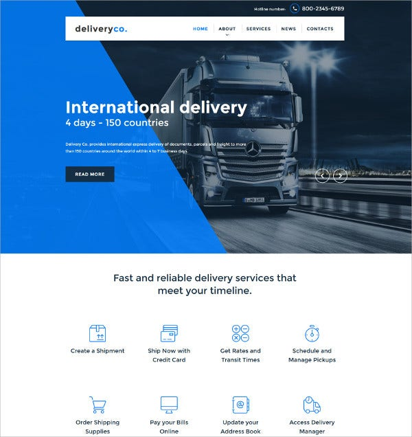 Transportation WordPress Website Template $75