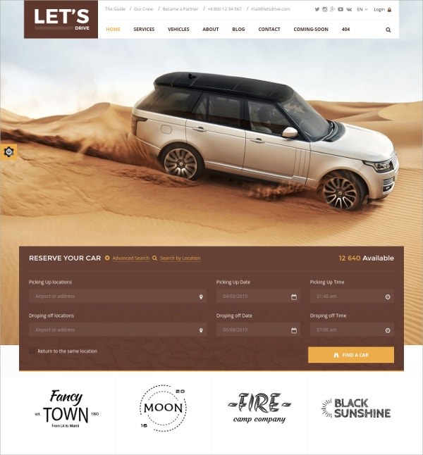 Car Rental WordPress Template $21|