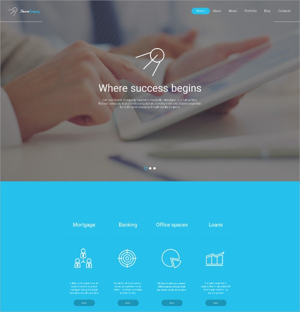Finance Website WordPress Template $75