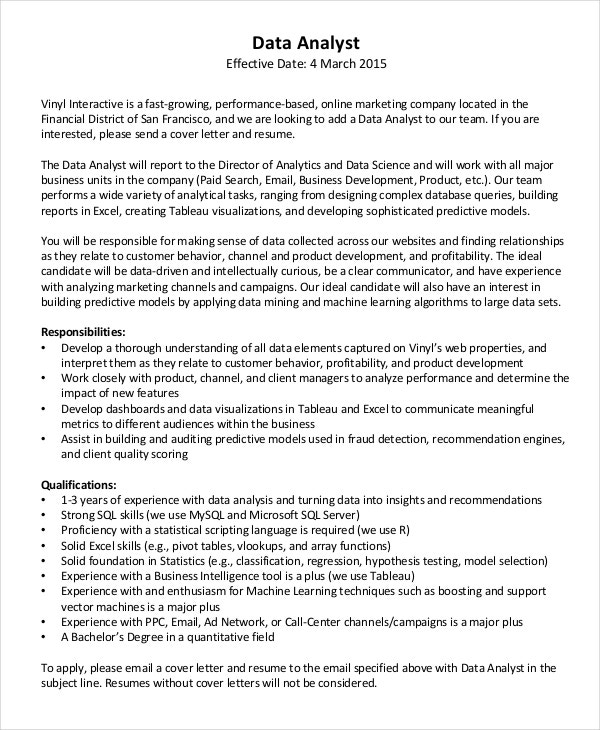 Data Analyst Cover Letter Template  Great Cover Letters For Resumes