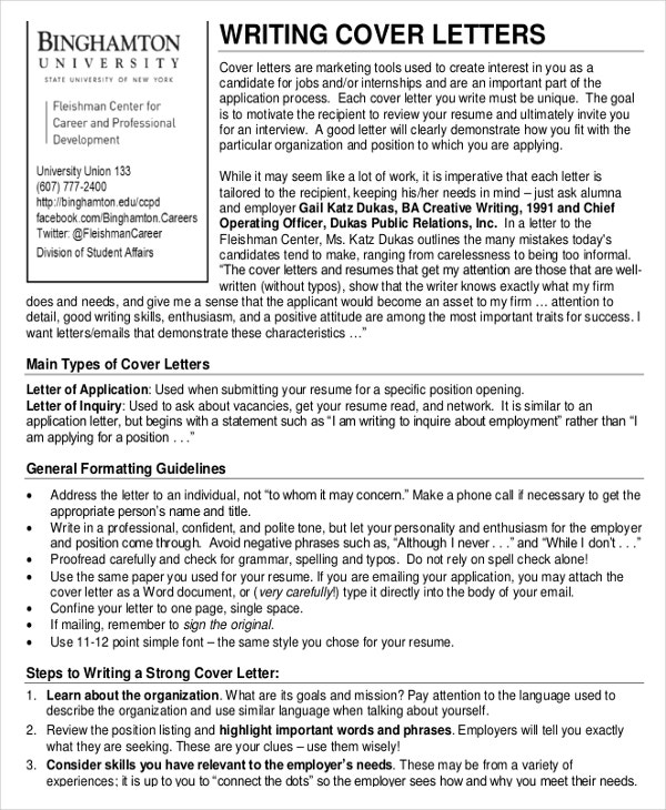 Cover Letter Template – 20+ Free Word, Pdf Documents Download
