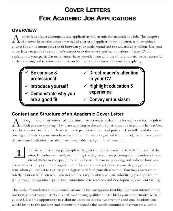 academic cover letter example - Cover Letter For College Professor