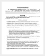 Confidential Disclosure Agreement Sample Template