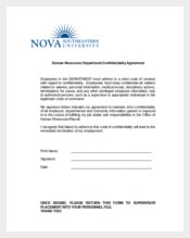 Example Human Resources Department Confidentiality Agreement