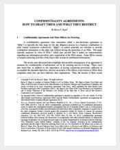 Example Business Legal Confidentiality Agreement