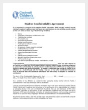 Medical Student Confidentiality Agreement Form Sample