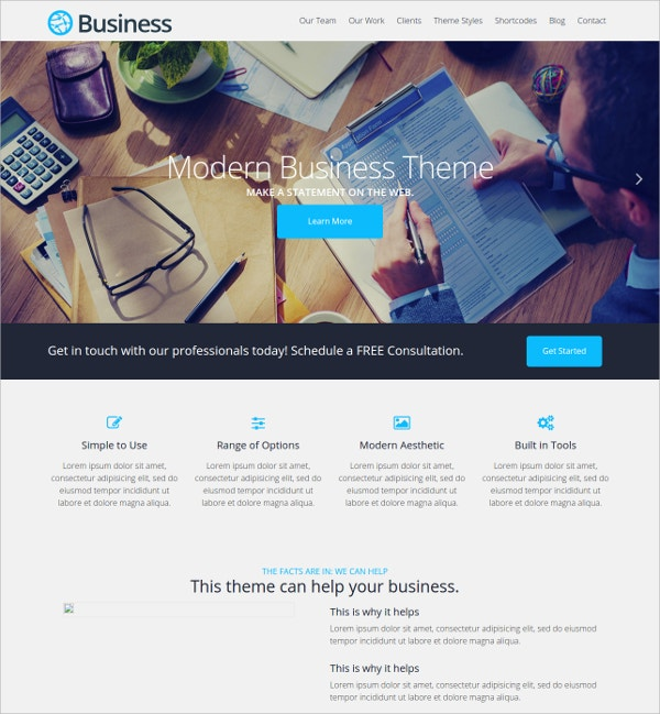 clean modern business free wordpress theme