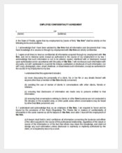 Employee Confidentiality Agreement Sample Template