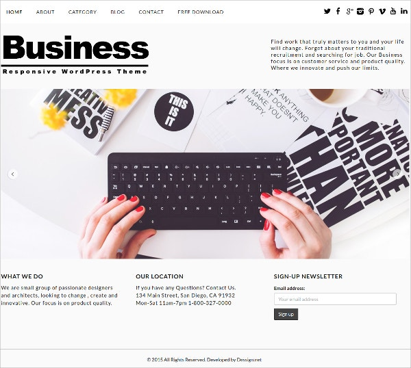Free Responsive Business WordPress Theme