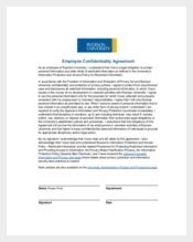 Employee Personal Confidentiality Agreement Sample