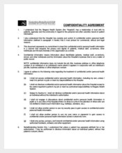Example Medical Personal Confidentiality Agreement