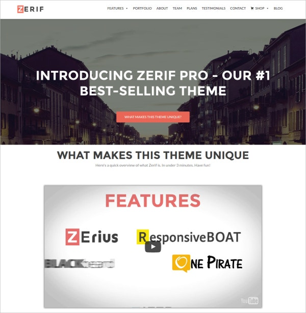 free one page business wordpress theme