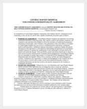 Sample Hospital Volunteer Confidentiality Agreement