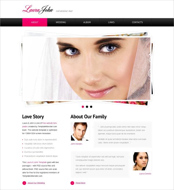 free html wedding wordpress theme