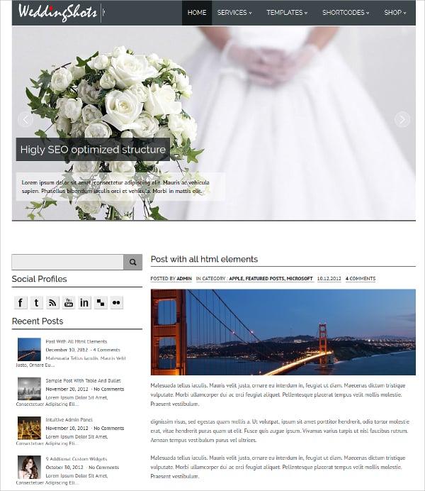 free design wedding album wordpress theme