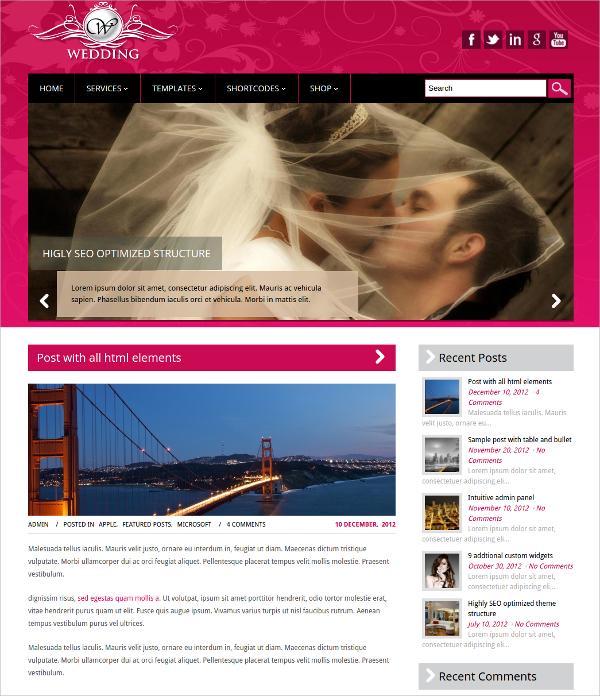 free memorable wedding wordpress theme