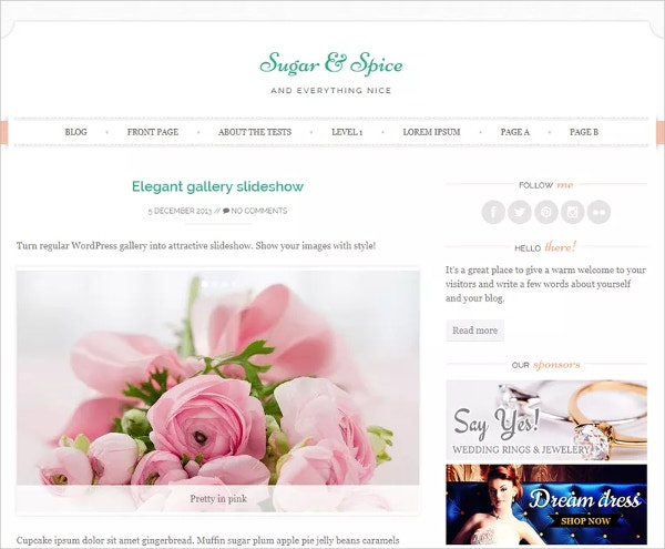 free feminine wedding wordpress theme