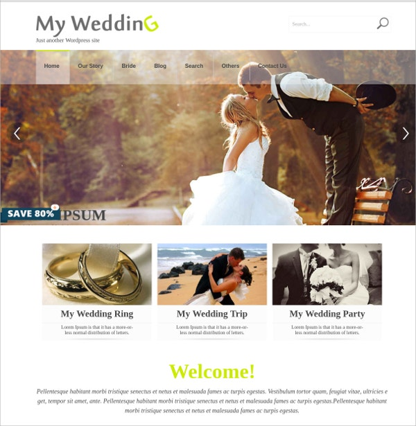 Free Elegant Wedding WordPress Theme