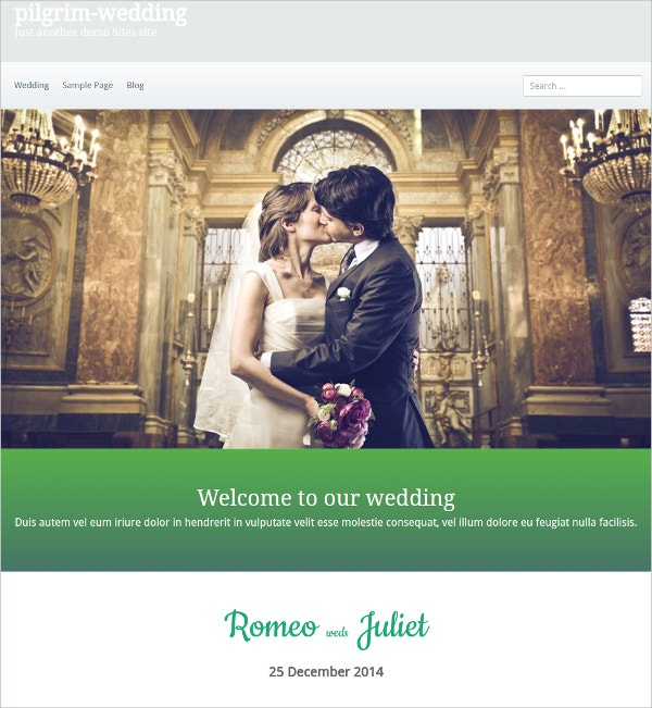 free portfolio wedding wordpress theme