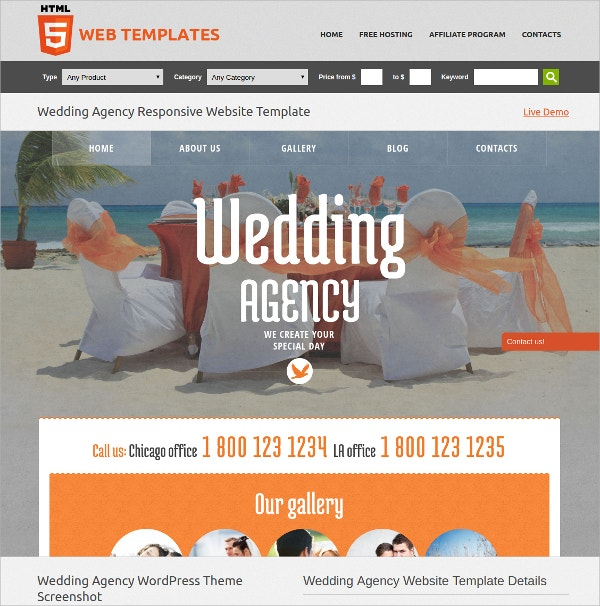 Free Wedding Agency WordPress Theme