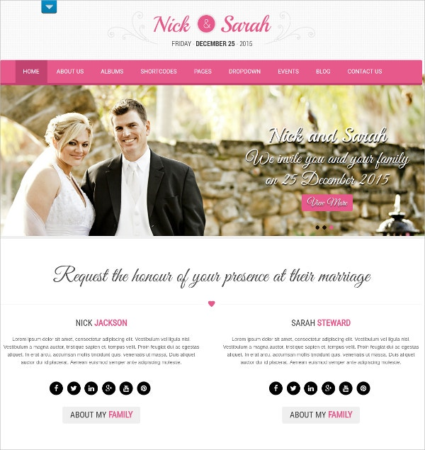 Unique Free Professional Wedding WordPress Theme