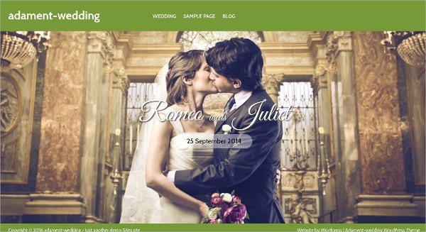 Free Fullscreen Wedding WordPress Theme