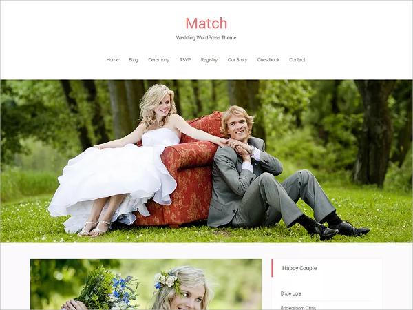 modern free wedding wordpress theme