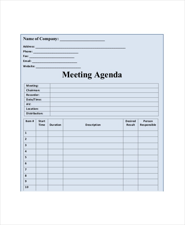 Blank Meeting Agenda Template 10 Free Word PDF Documents – Meeting Agenda Template Free