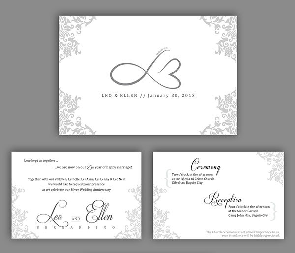 silver wedding anniversary invitation template